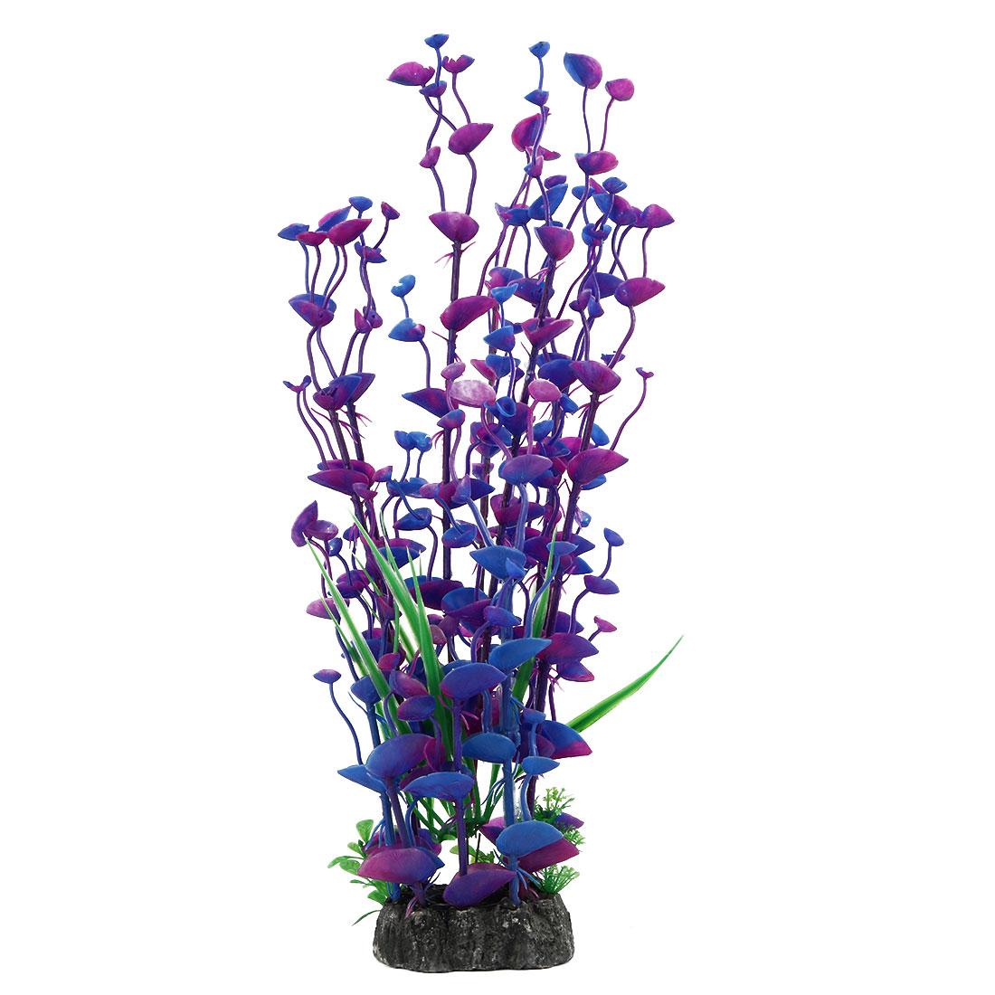 Aquarium Artificial Plant Grass Decoration Blue Fuchsia 15.4 Inches Height