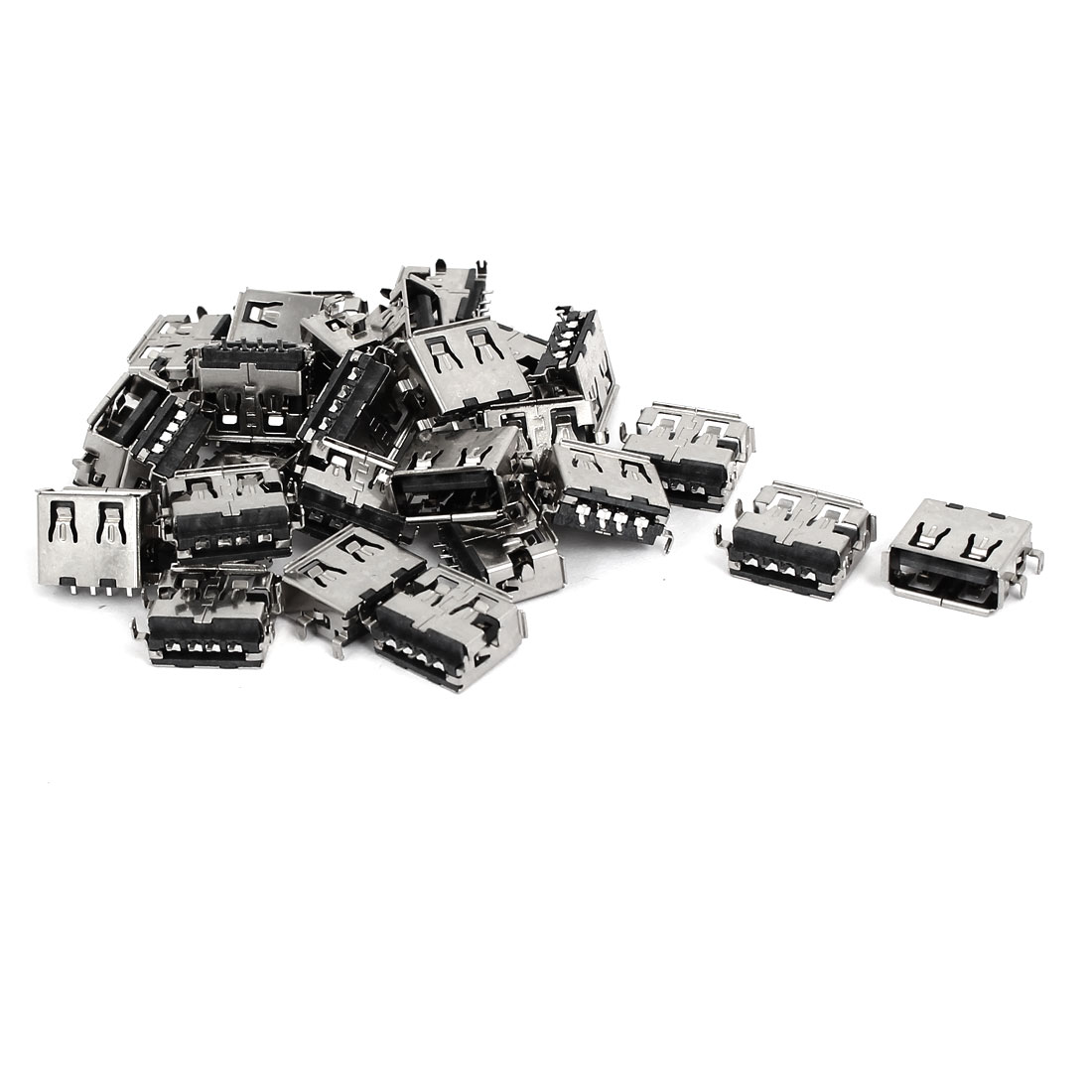 Straight Solder Type A USB Female Jack Socket Connector Silver Tone 30pcs