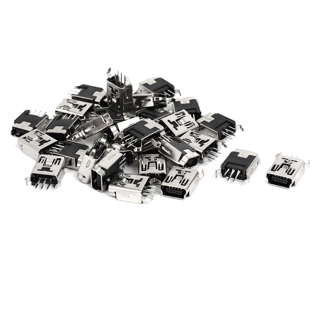Mini USB 5P Type B Female Straight Pin Jack Socket SMD Connector Adapter 30pcs