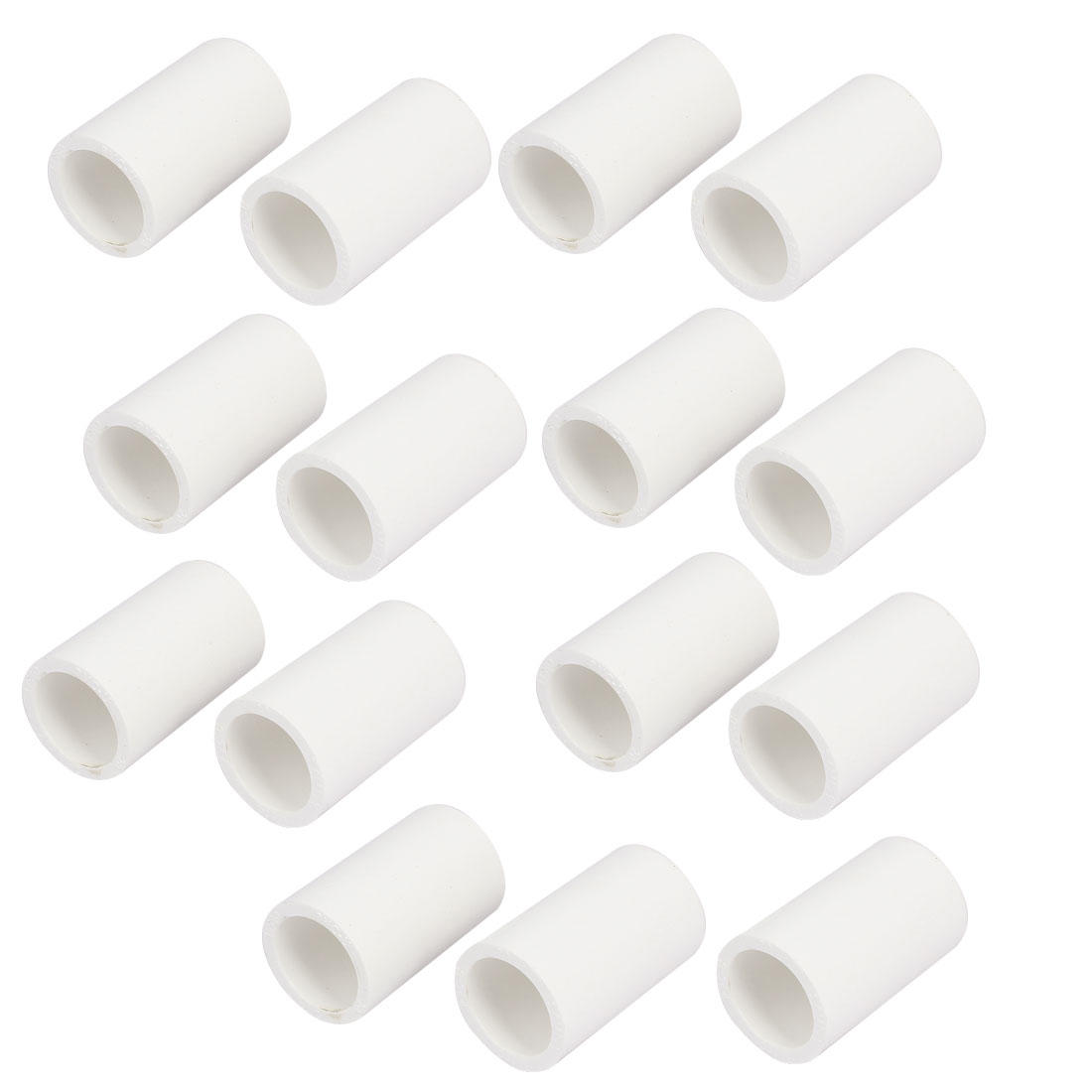 20mm Inner Diameter Straight PVC Pipe Connectors Fittings White 15pcs