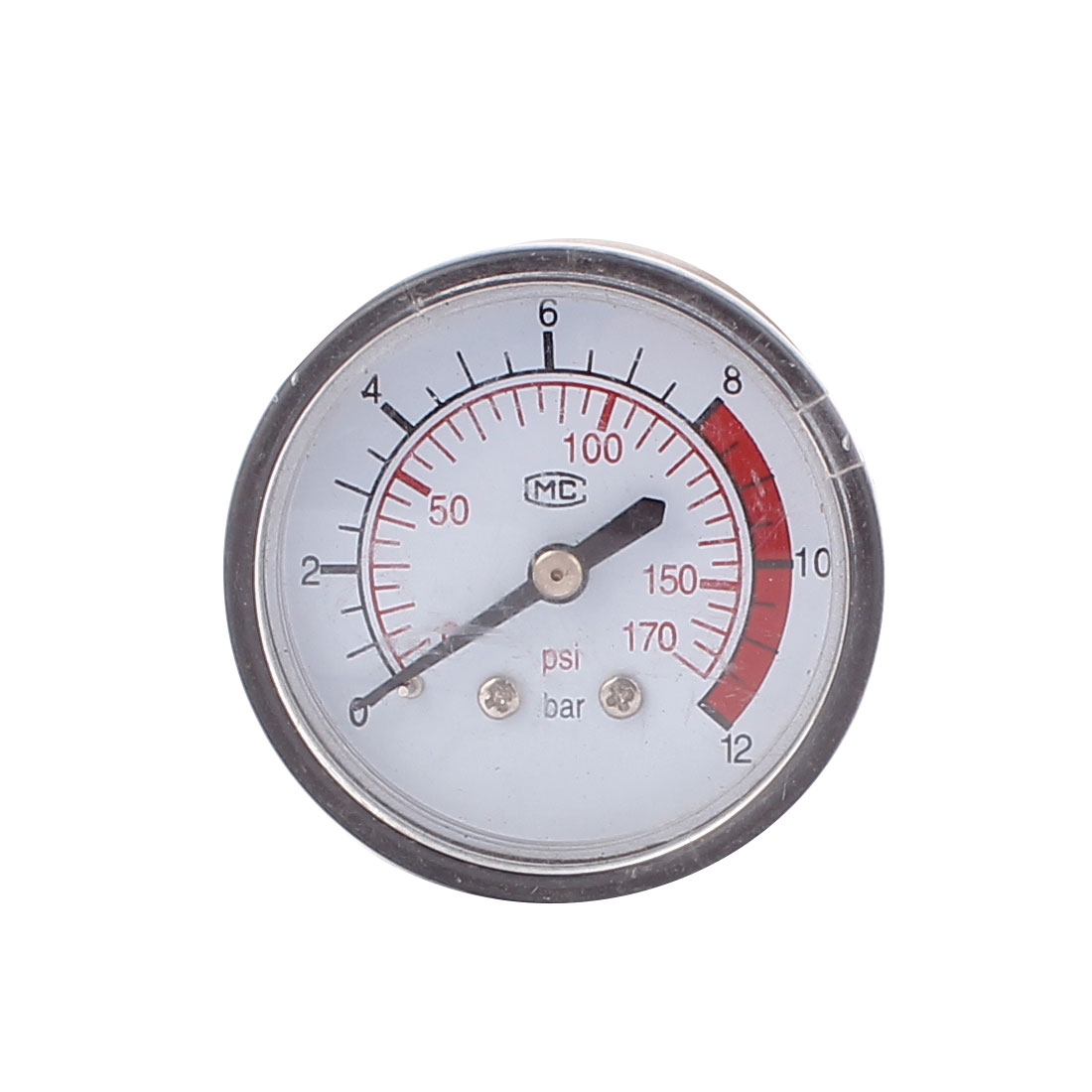 Round 0-170 Psi 13mm 1/4BSP Thread Dia Dial Air Pressure Gauge Black