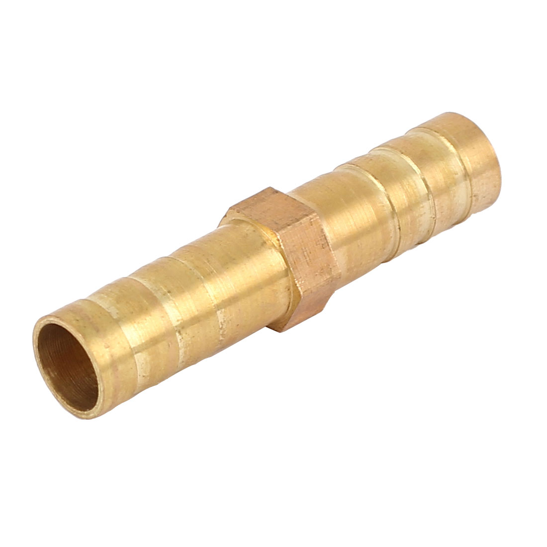 Gas Hose Pipe Fitting Straight Type Barb Connector Gold Tone 8.3mm