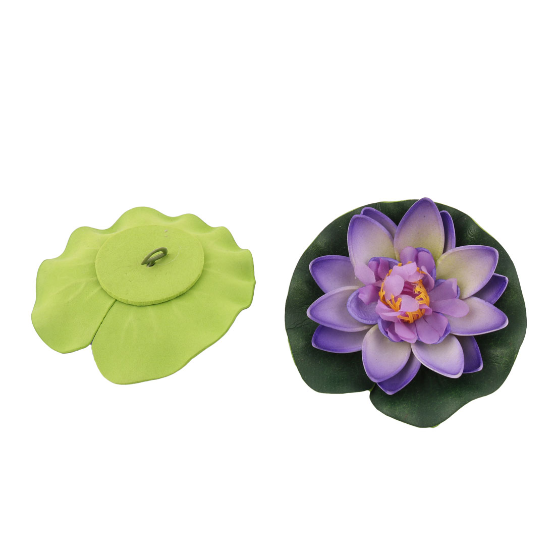 Aquarium Fish Tank Foam Garden Pond Decoration Floating Lotus Flower Purple 2pcs