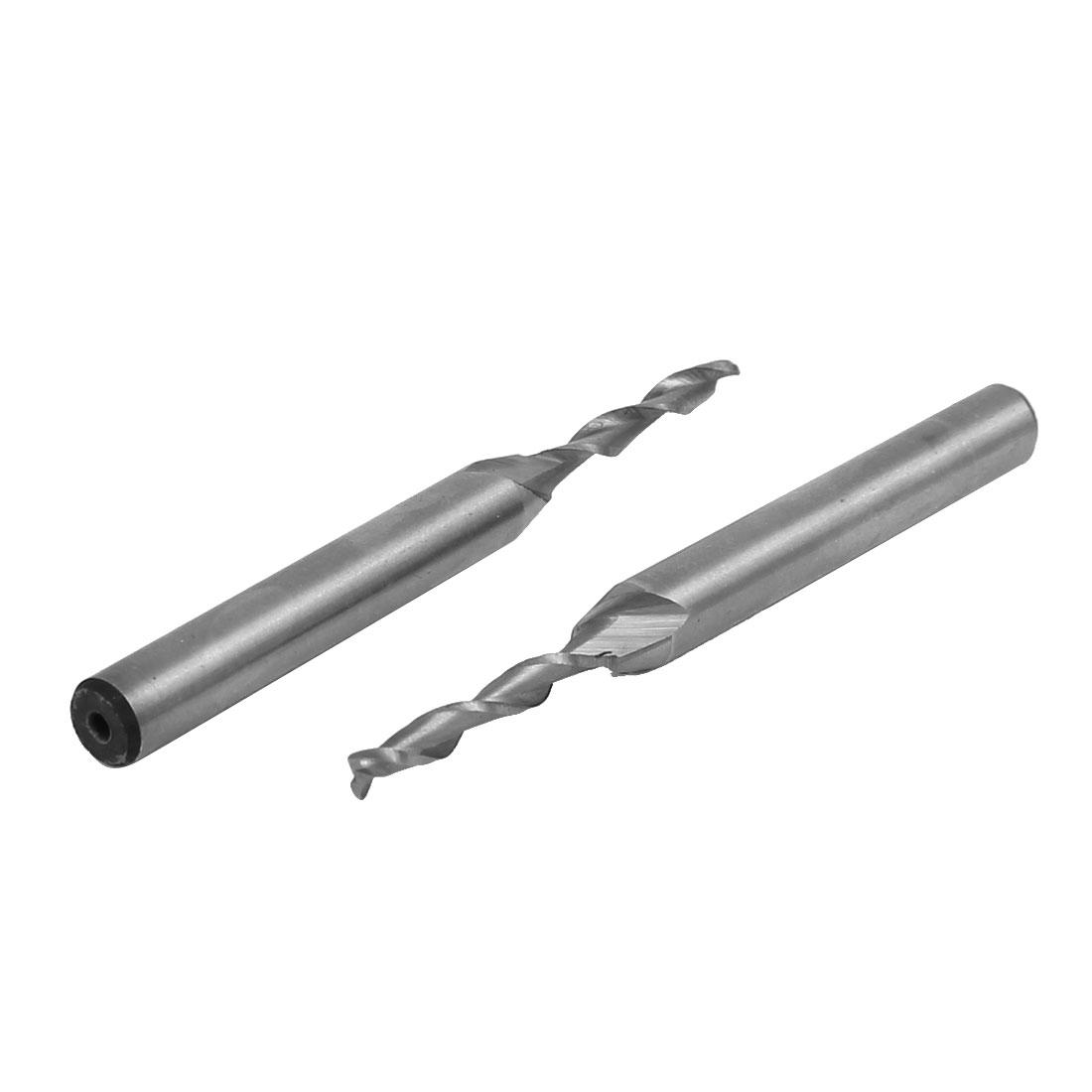 3mm Cutting Dia 6mm Shank Dia HSS Double Flutes End Mills Cutter 2pcs