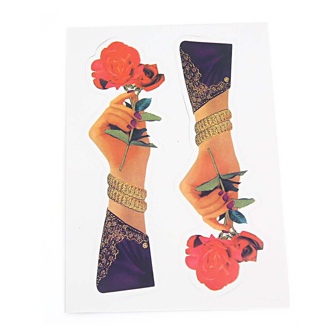 Hand Holding Flower Print Stick-on Decorative Sticker Decal for Car