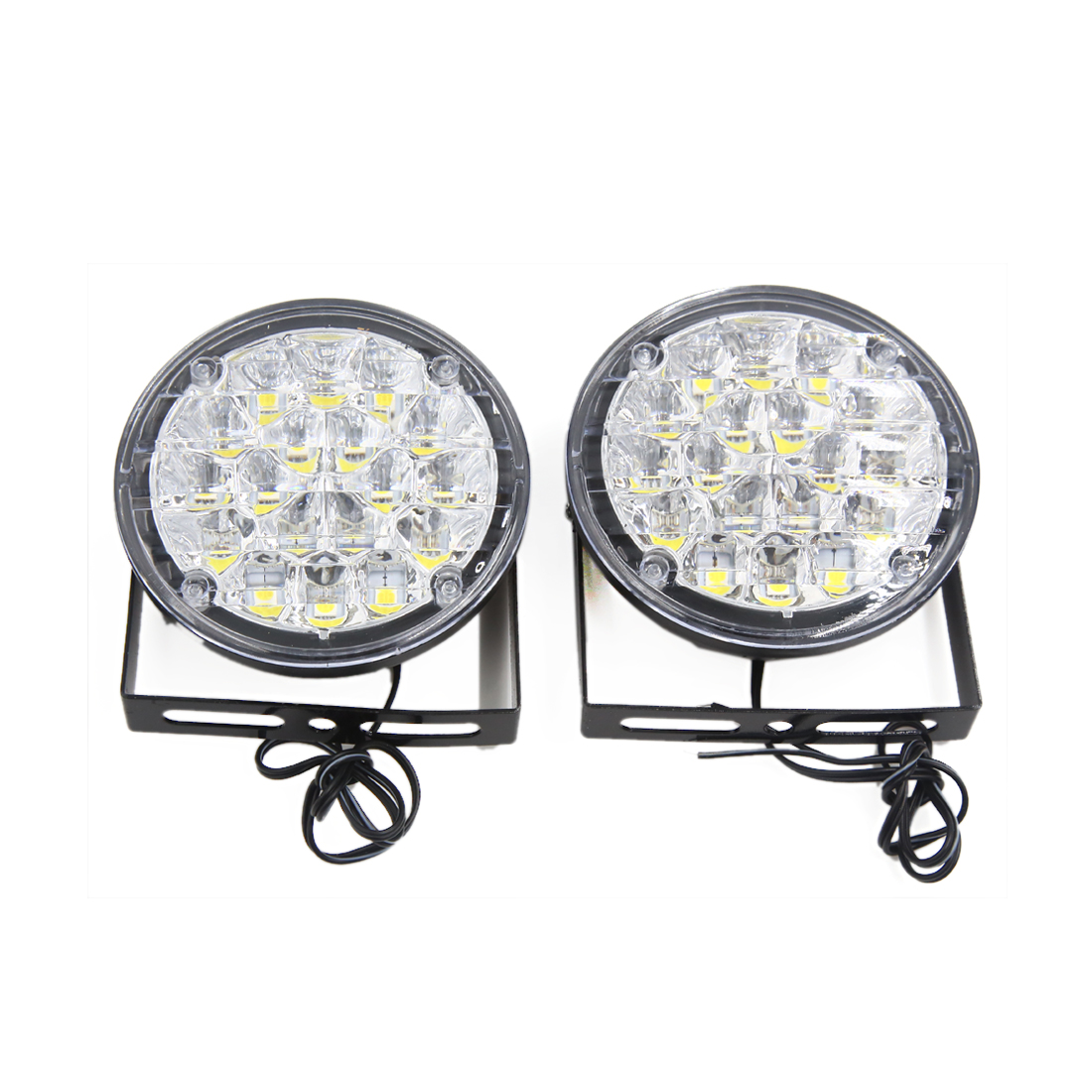 2Pcs 12V 18LED Round Car Lamp Driving Daytime Running Light Bright White