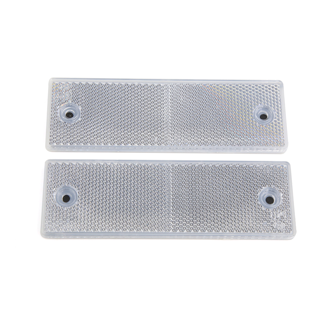 2 Pcs Rectangle Light Reflector Tail Brake Stop Marker White for Car Auto