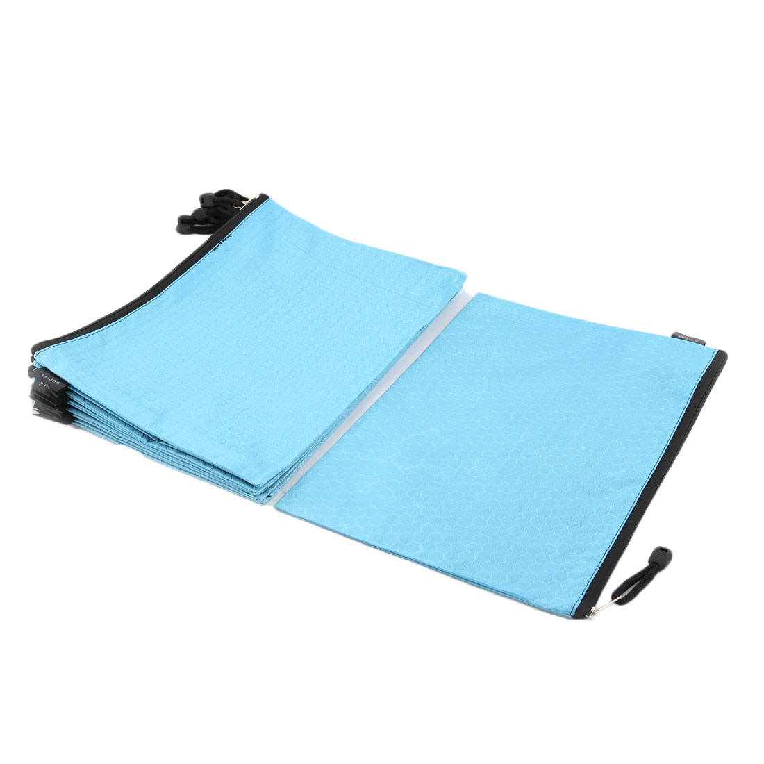 Office School Nylon Grid Pattern Zippered A4 Size Paper Document File Storage Bag Blue 10pcs