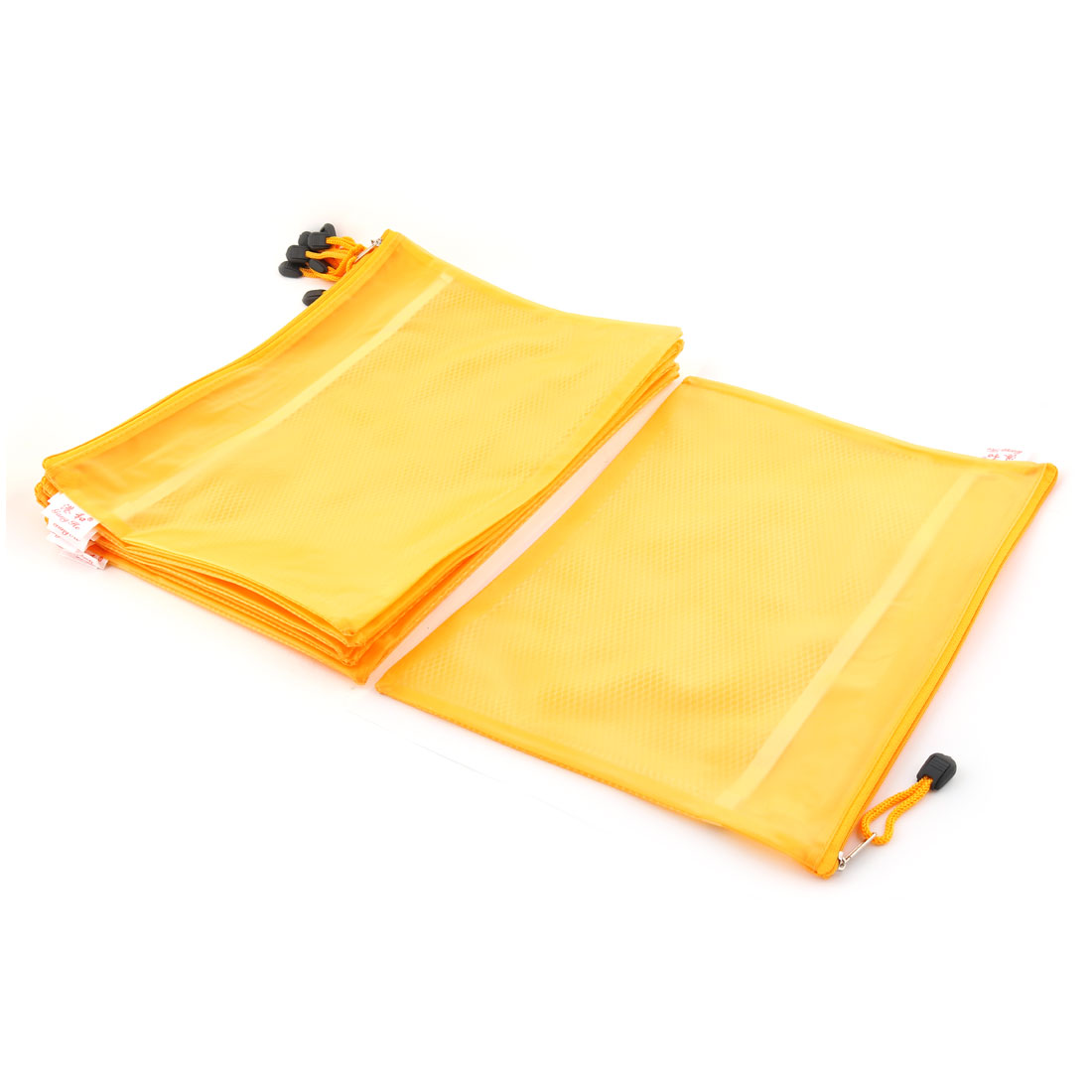 Office School Nylon Double Layer Zippered A4 Size Paper Document File Storage Bag Yellow 10pcs