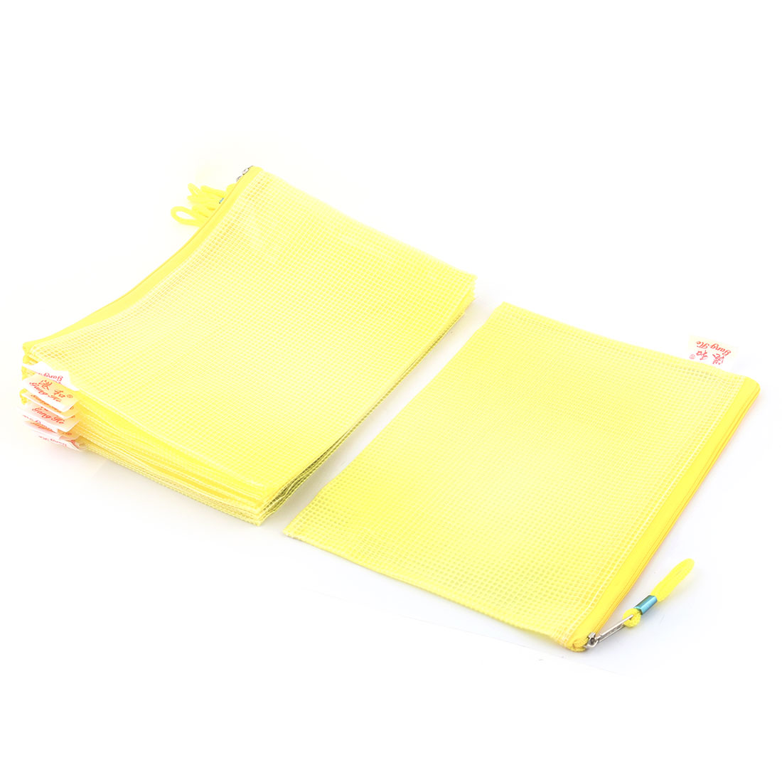 Office School Plastic Zippered A5 Size Paper Document File Storage Bag Yellow 10pcs