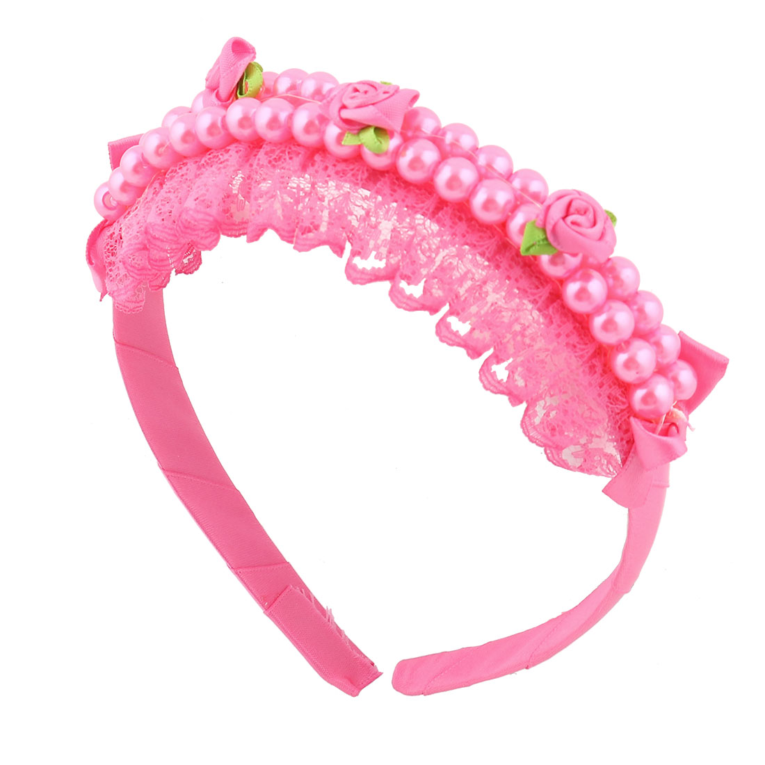 Girl Flower Imitation Pearl Inlaid Lace Decor Hair Band Hoop Headband Barrette Pink