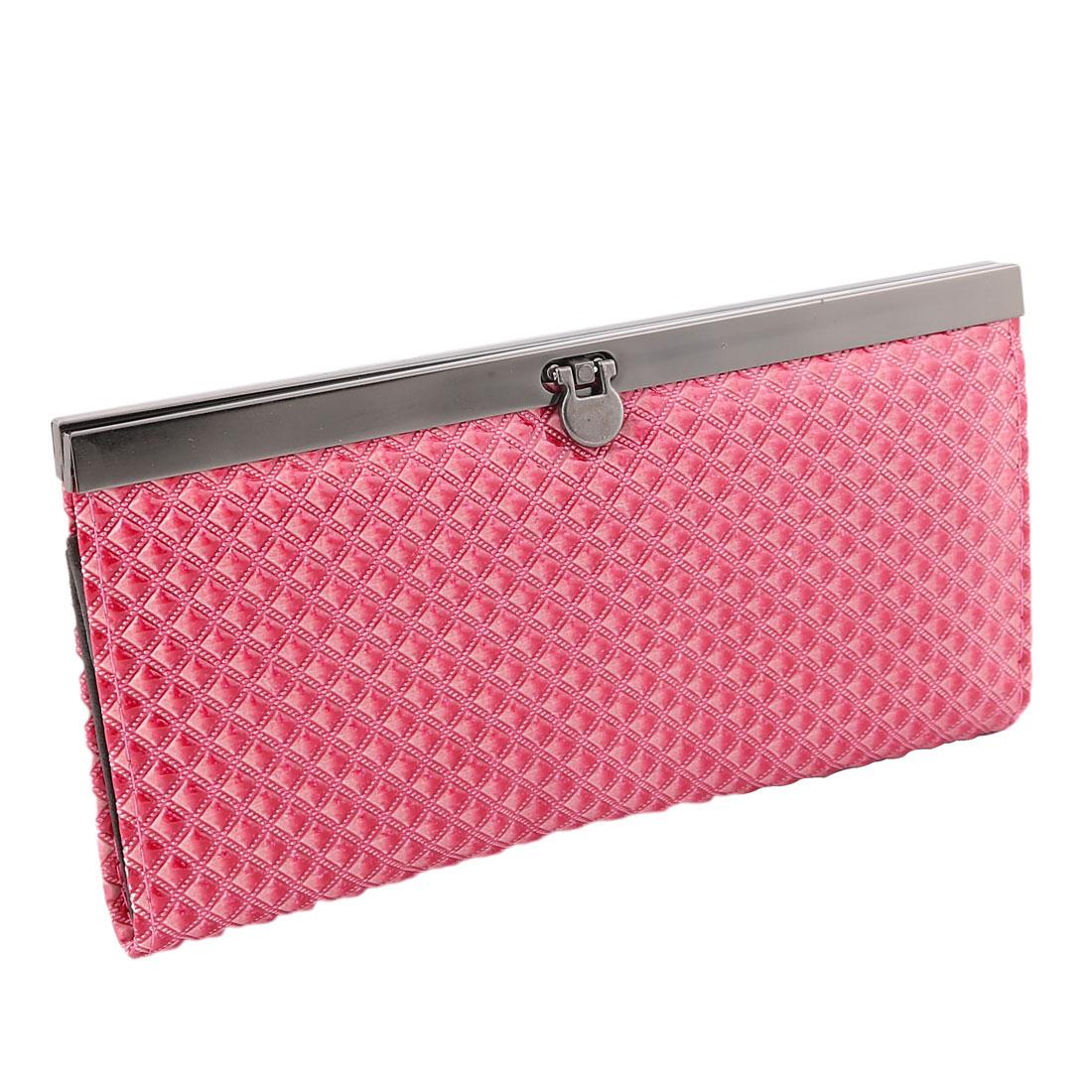 Women Faux Leather Multi-layer Bag Handbag Card Money Holder Purse Wallet Fuchsia