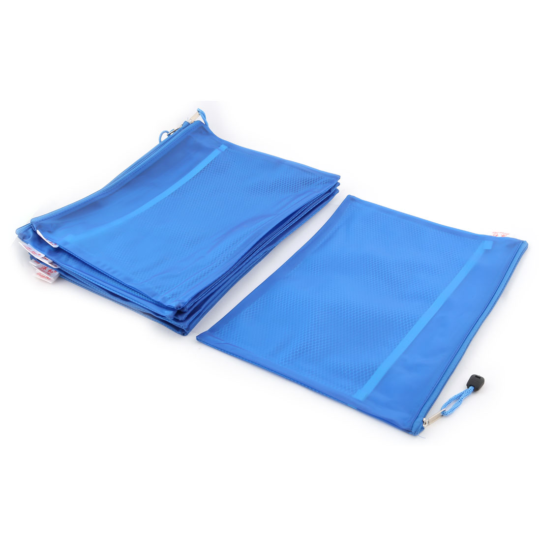 Office School Nylon Double Layer Zippered A4 Size Paper Document File Storage Bag Blue 10pcs