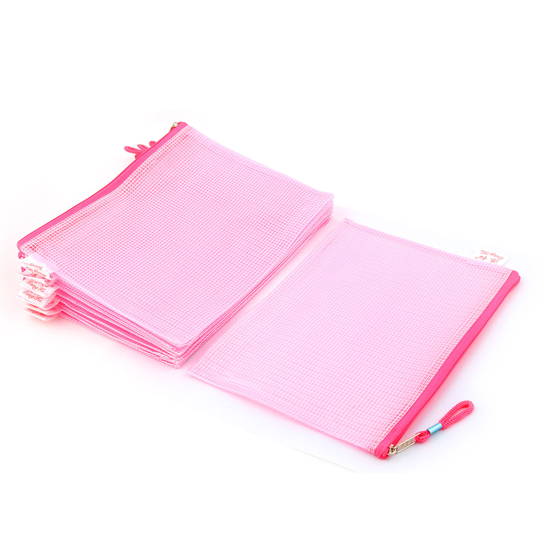 Office School Plastic Zippered A5 Size Paper Document File Storage Bag Fuchsia 10pcs