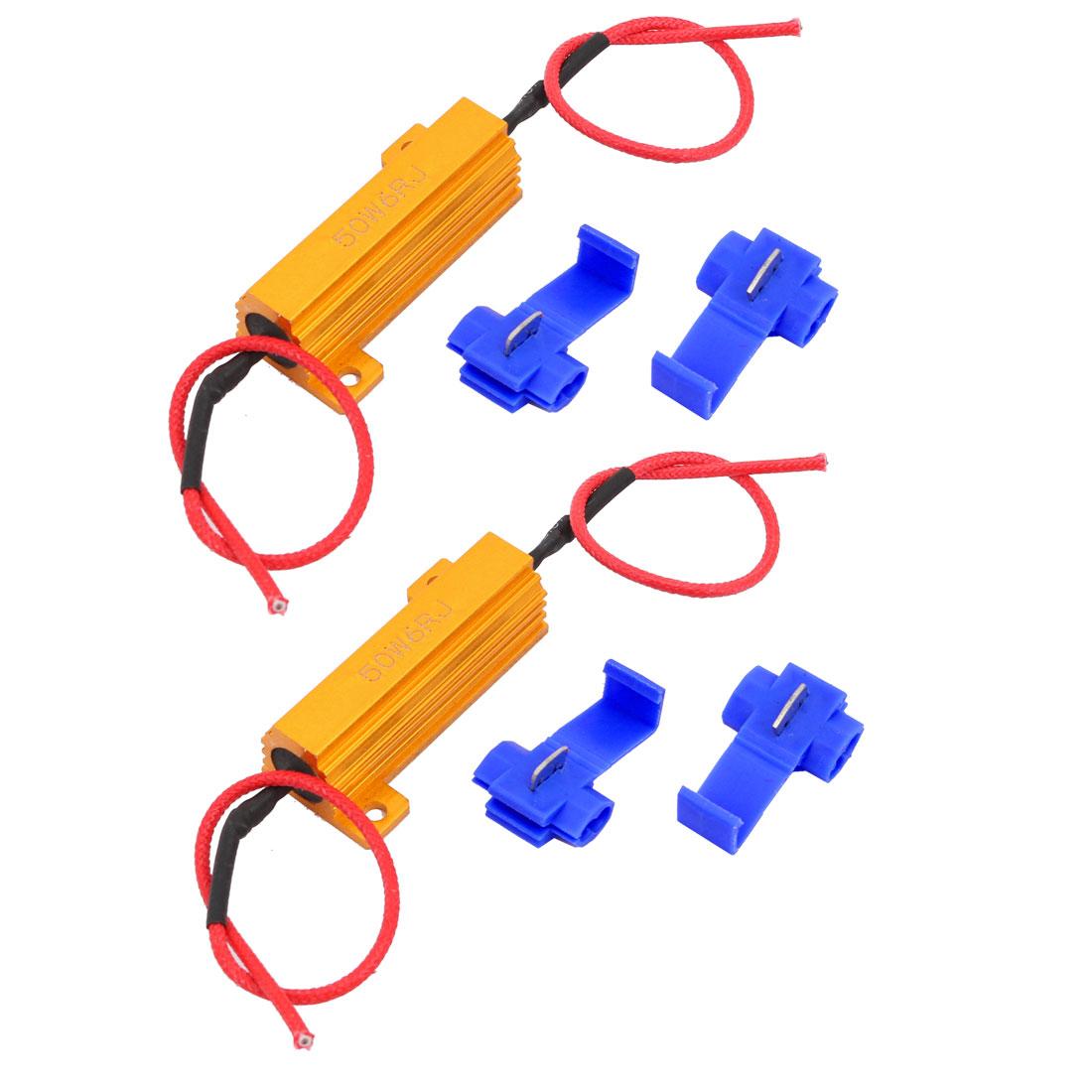 2 Pcs 50W 6RJ Load Resistor Fix LED Bulb Fast Flash Turn Signal Blink