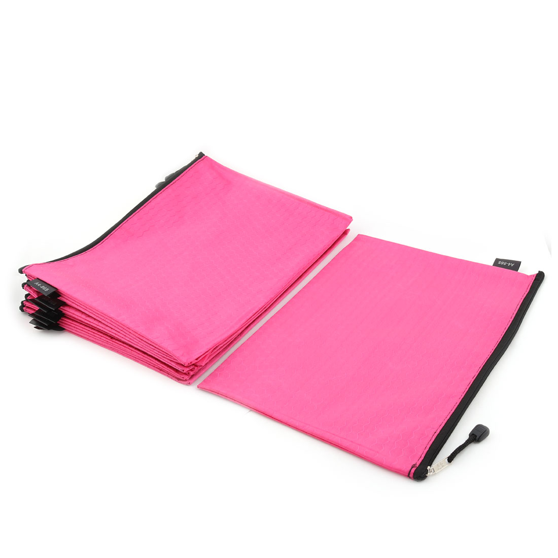 Office School Nylon Grid Pattern Zippered A4 Size Paper Document File Storage Bag Fuchsia 10pcs