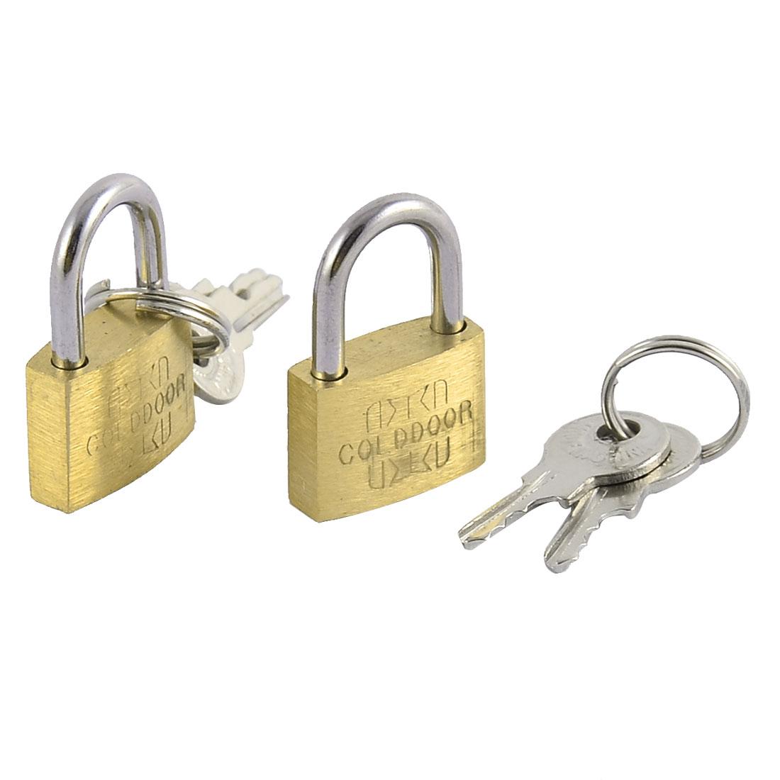 Home Office Door Drawer Cabinet Metal Security Lock Shackle Padlock Brass Tone 2pcs