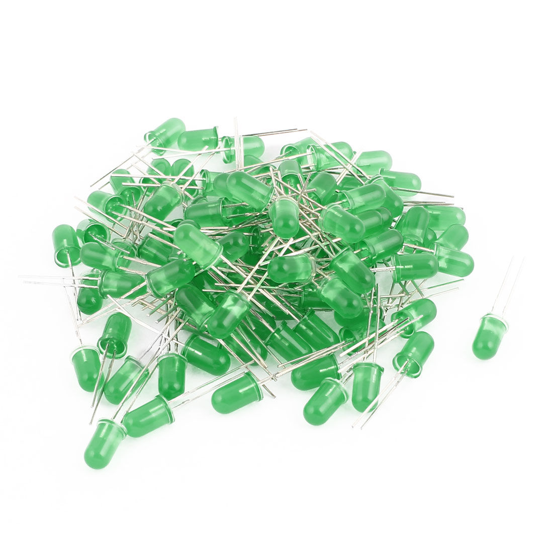 100 pcs Round F5 Green Bulb 2 Terminal Green Light Emitting Diode for LED Lamp