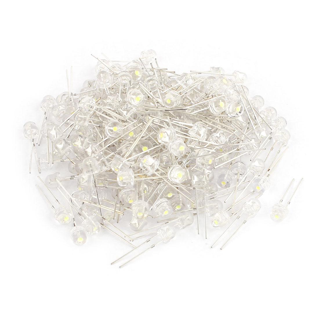 200pcs 5mm Straw Hat White Light LED Emitting Diode Transparent DIY Bulb Beads
