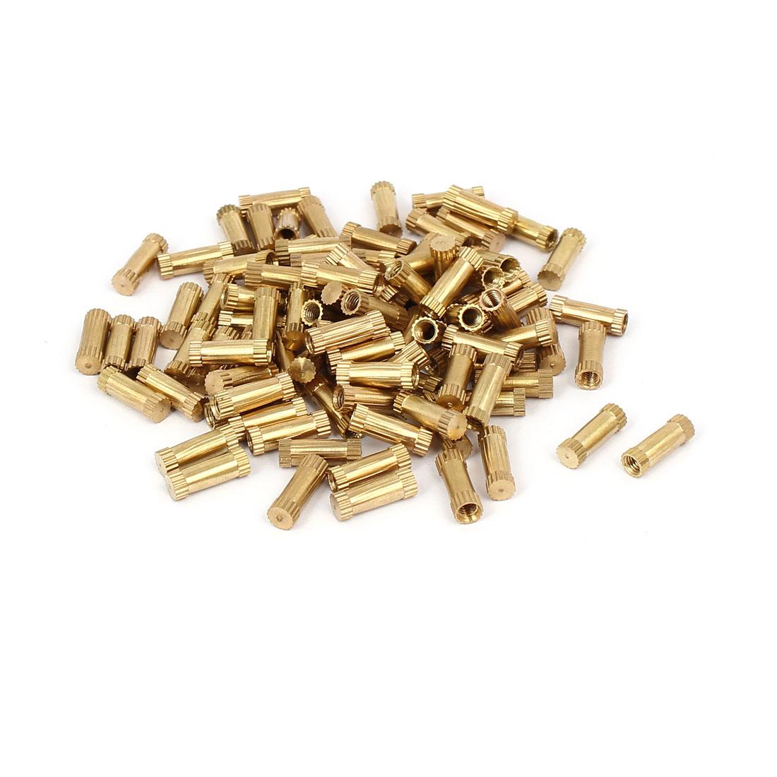 M3 x 12mm 4.3mm OD Brass Threaded Insert Embedded Knurled Thumb Nut 100PCS