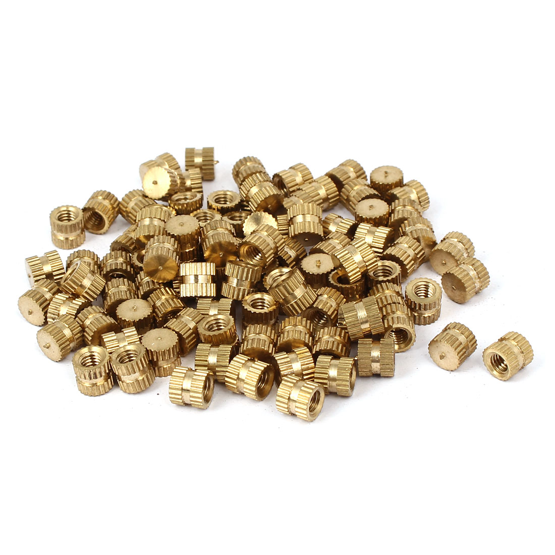 M4 x 6mm 6.3mm OD Brass Threaded Insert Embedded Knurled Thumb Nut 100PCS