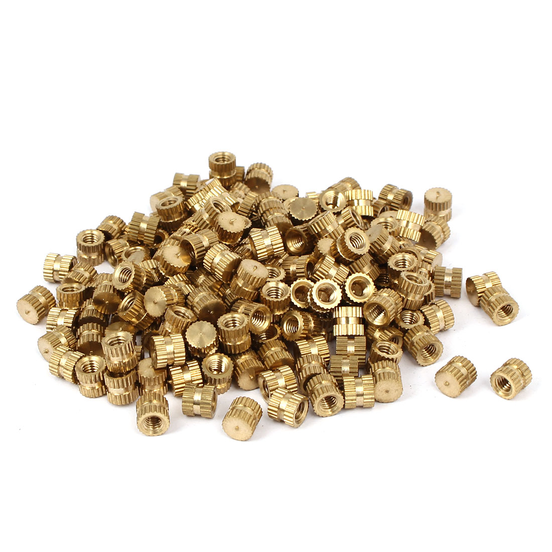 M4 x 6mm 6.3mm OD Brass Threaded Insert Embedment Knurled Thumb Nut 200PCS