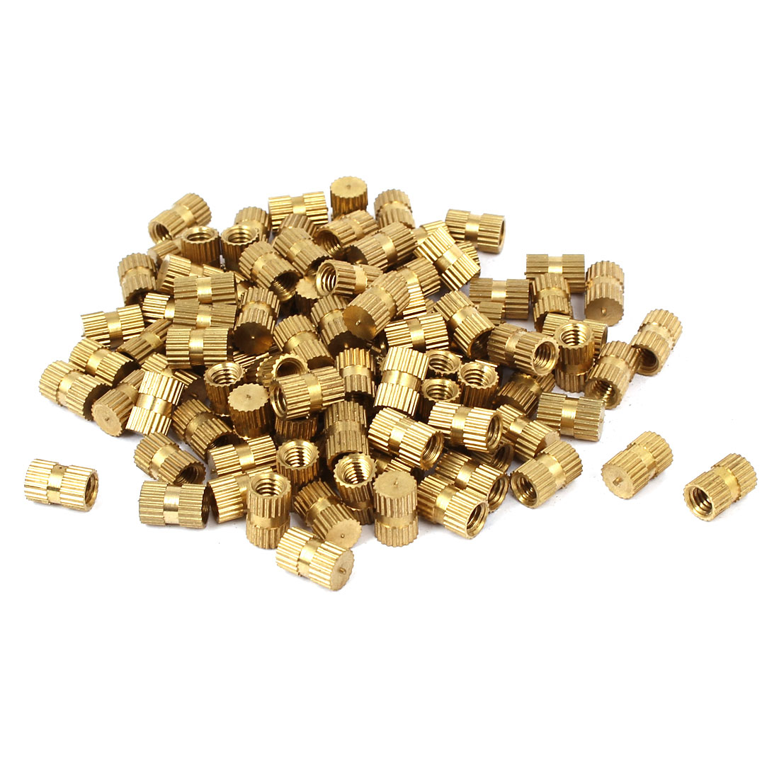 M4 x 8mm 5.5mm OD Brass Injection Molding Embedded Knurled Thumb Nut 100PCS