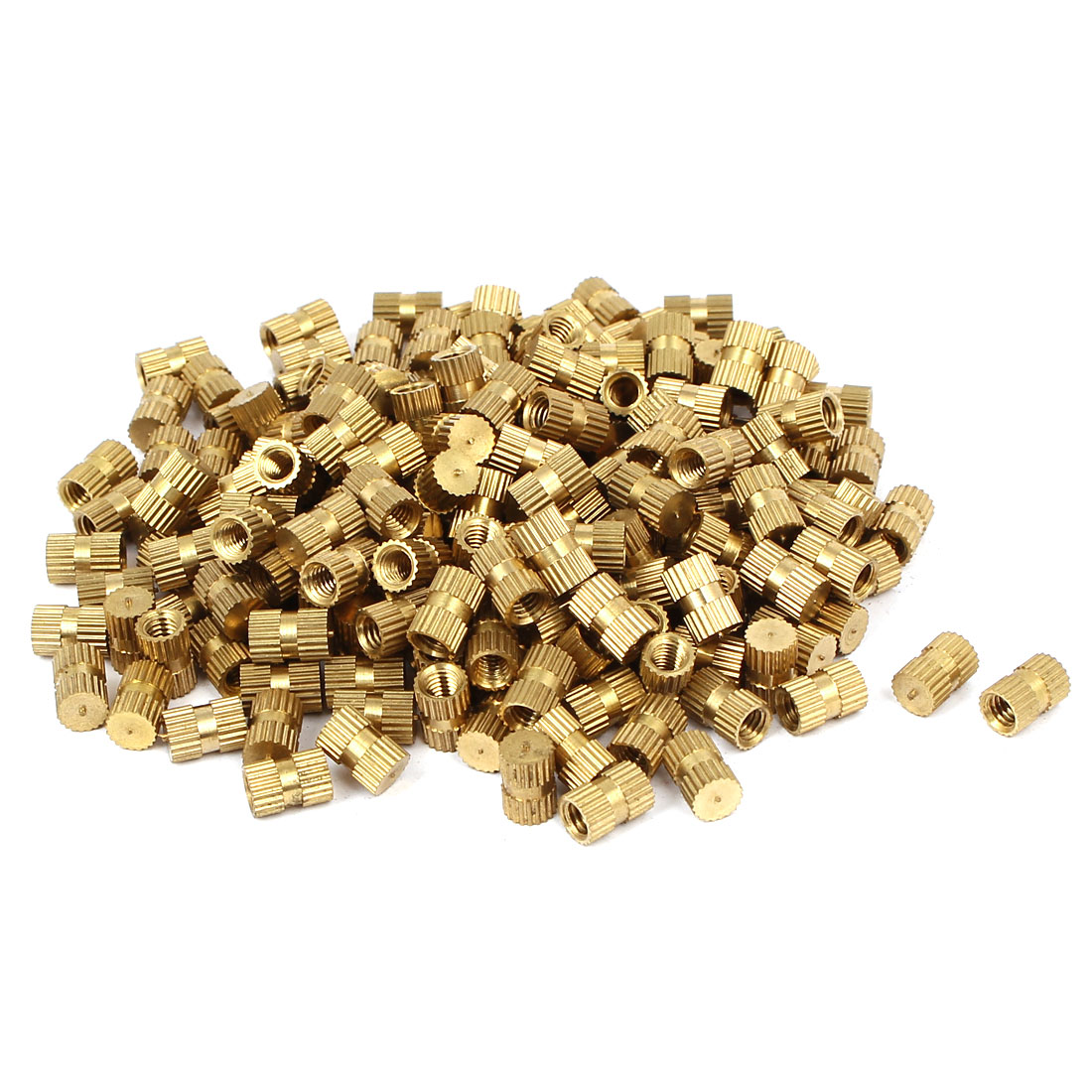 M4 x 8mm 5.5mm OD Brass Injection Molding Insert Knurled Thumb Nut 200PCS