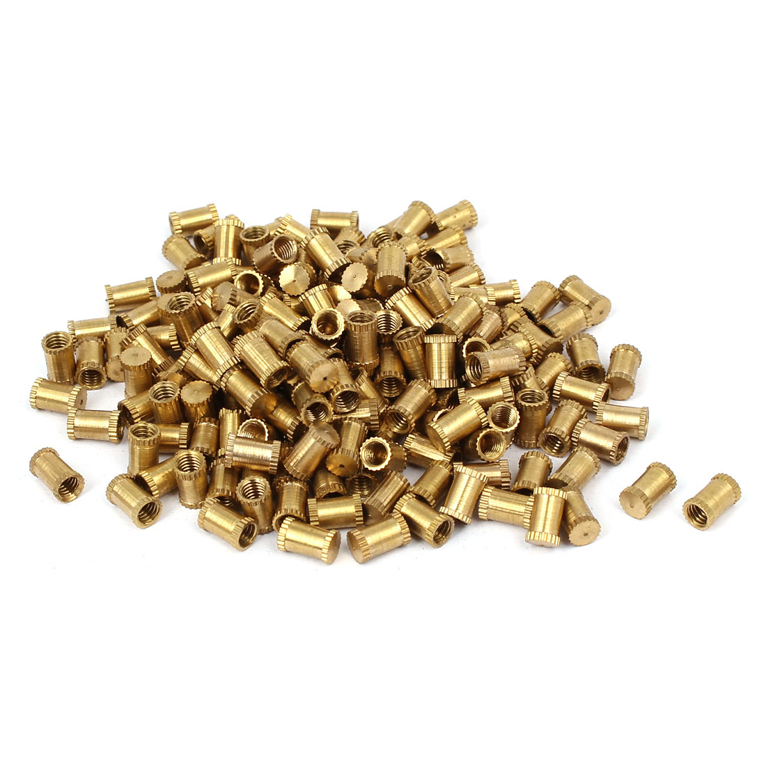 M4 x 8mm 5.3mm OD Brass Threaded Insert Embedded Knurled Thumb Nut 200PCS