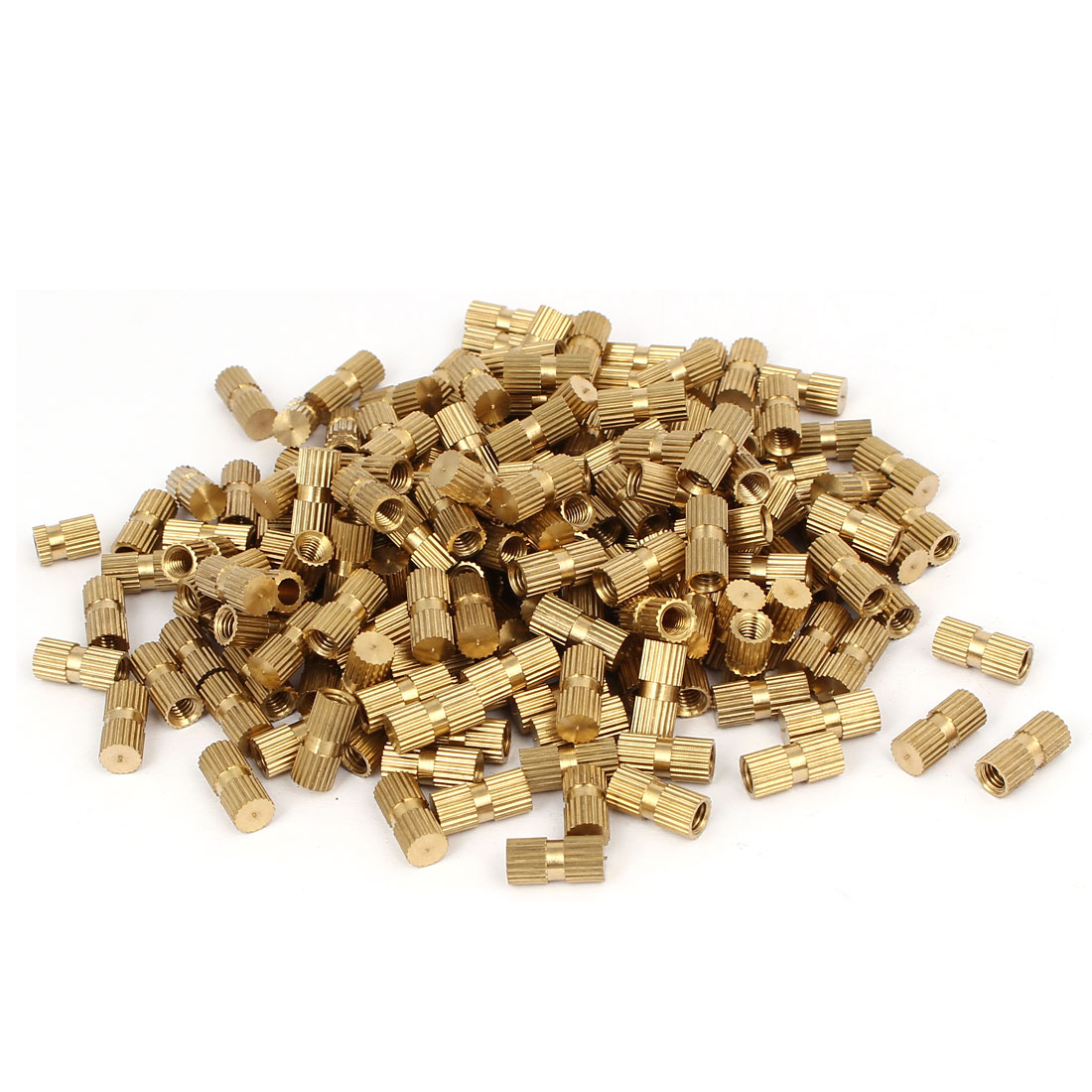 M4 x 12mm 5.3mm OD Brass Injection Molding Embedded Knurled Thumb Nut 200PCS