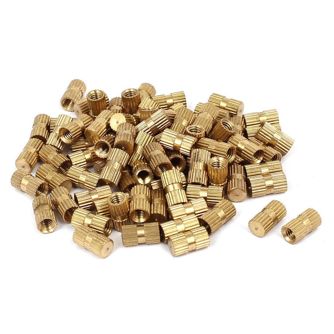 M4 x 10mm 5.5mm OD Brass Injection Molding Insert Knurled Thumb Nut 100PCS
