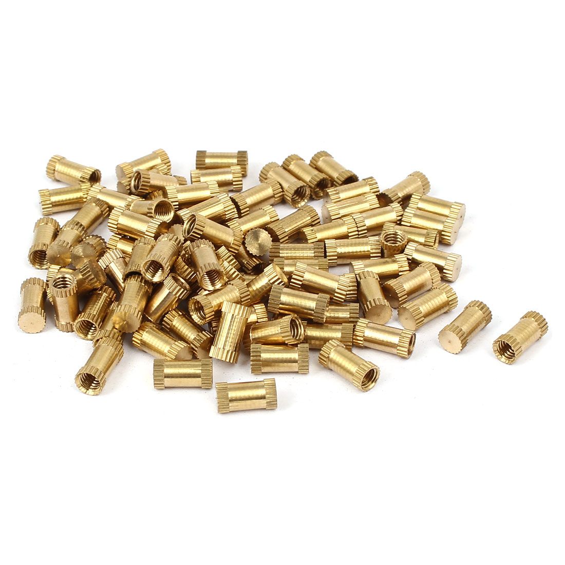 M4 x 10mm 5.3mm OD Brass Threaded Insert Embedment Knurled Thumb Nut 100PCS