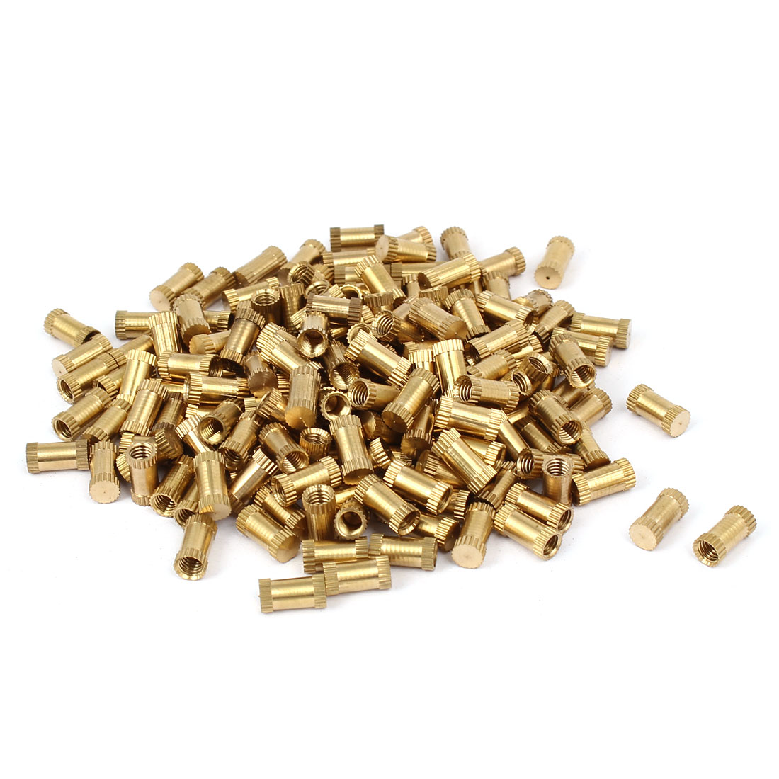 M4 x 10mm 5.3mm OD Brass Injection Molding Insert Knurled Thumb Nut 200PCS