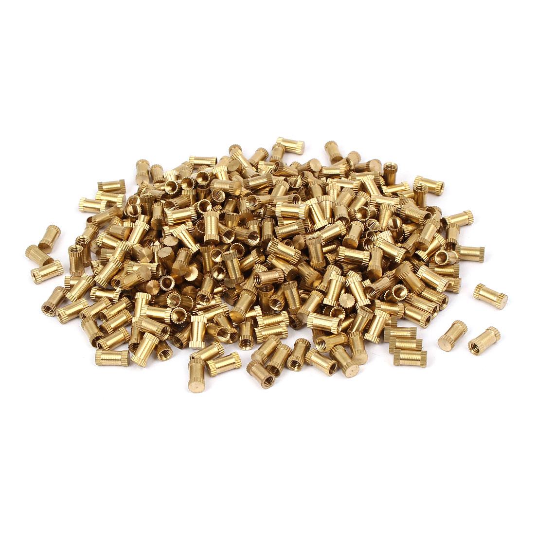 M4 x 10mm 5.3mm OD Brass Threaded Insert Embedment Knurled Thumb Nut 500PCS