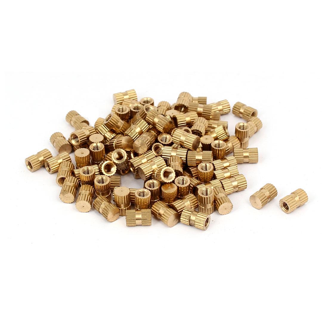 M4 x 10mm 6.3mm OD Brass Threaded Insert Embedded Knurled Thumb Nut 100PCS