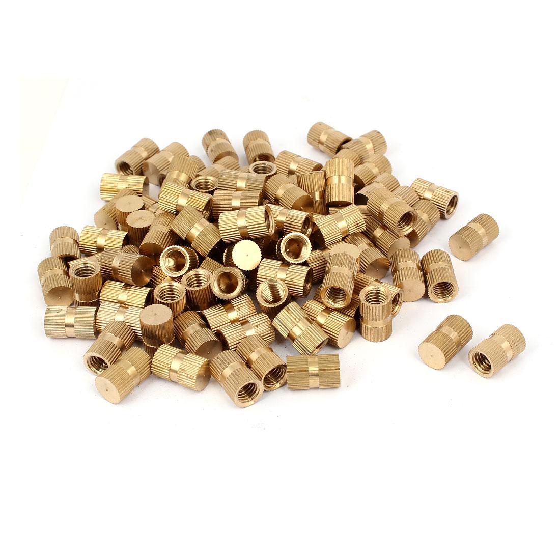 M8 x 16mm 10mm OD Brass Threaded Insert Embedment Knurled Thumb Nut 100PCS