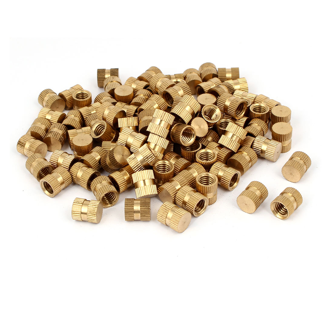 M8 x 12mm 10mm OD Brass Threaded Insert Embedded Knurled Thumb Nut 100PCS
