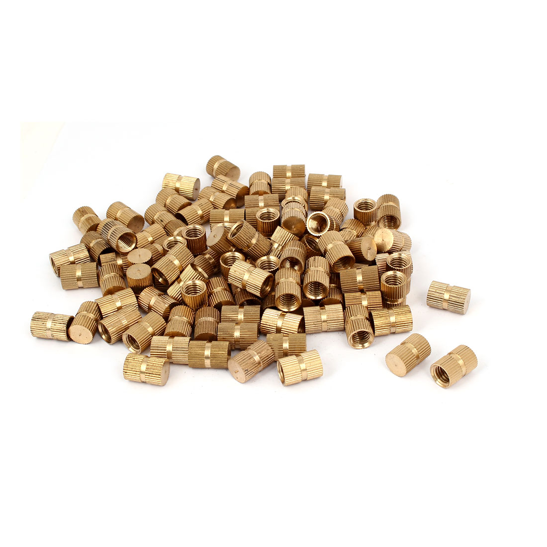 M8 x 15mm 10mm OD Brass Injection Molding Embedded Knurled Thumb Nut 100PCS