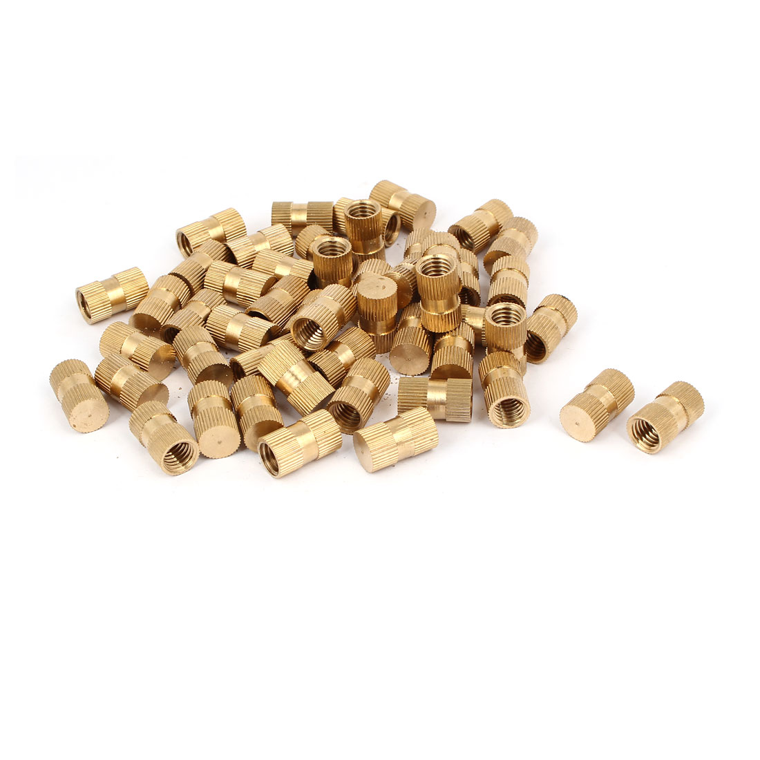 M10 x 20mm 12mm OD Brass Injection Molding Threaded Knurled Thumb Nut 50PCS