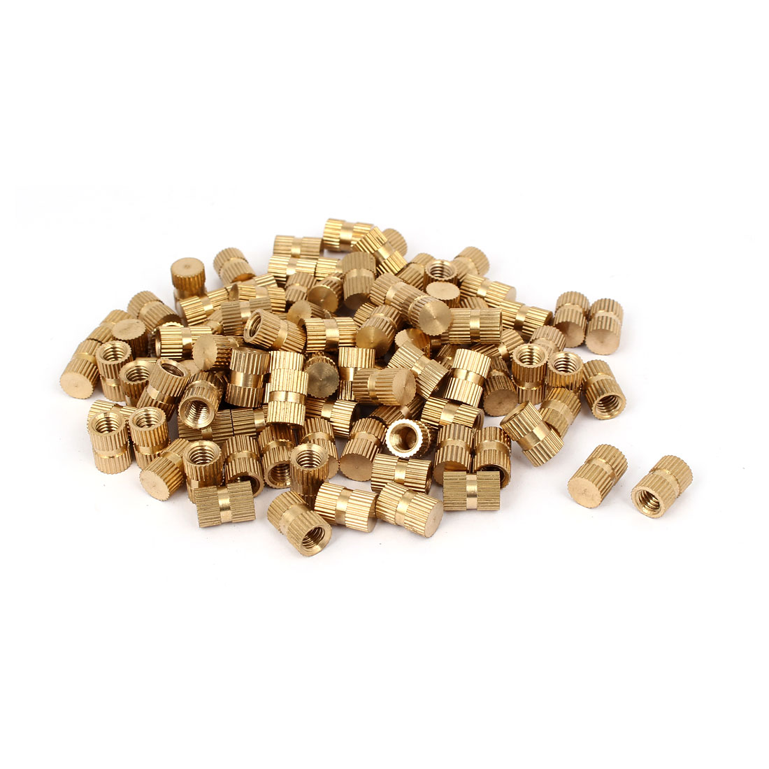 M6 x 12mm 8.3mm OD Brass Injection Molding Threaded Knurled Thumb Nut 100PCS