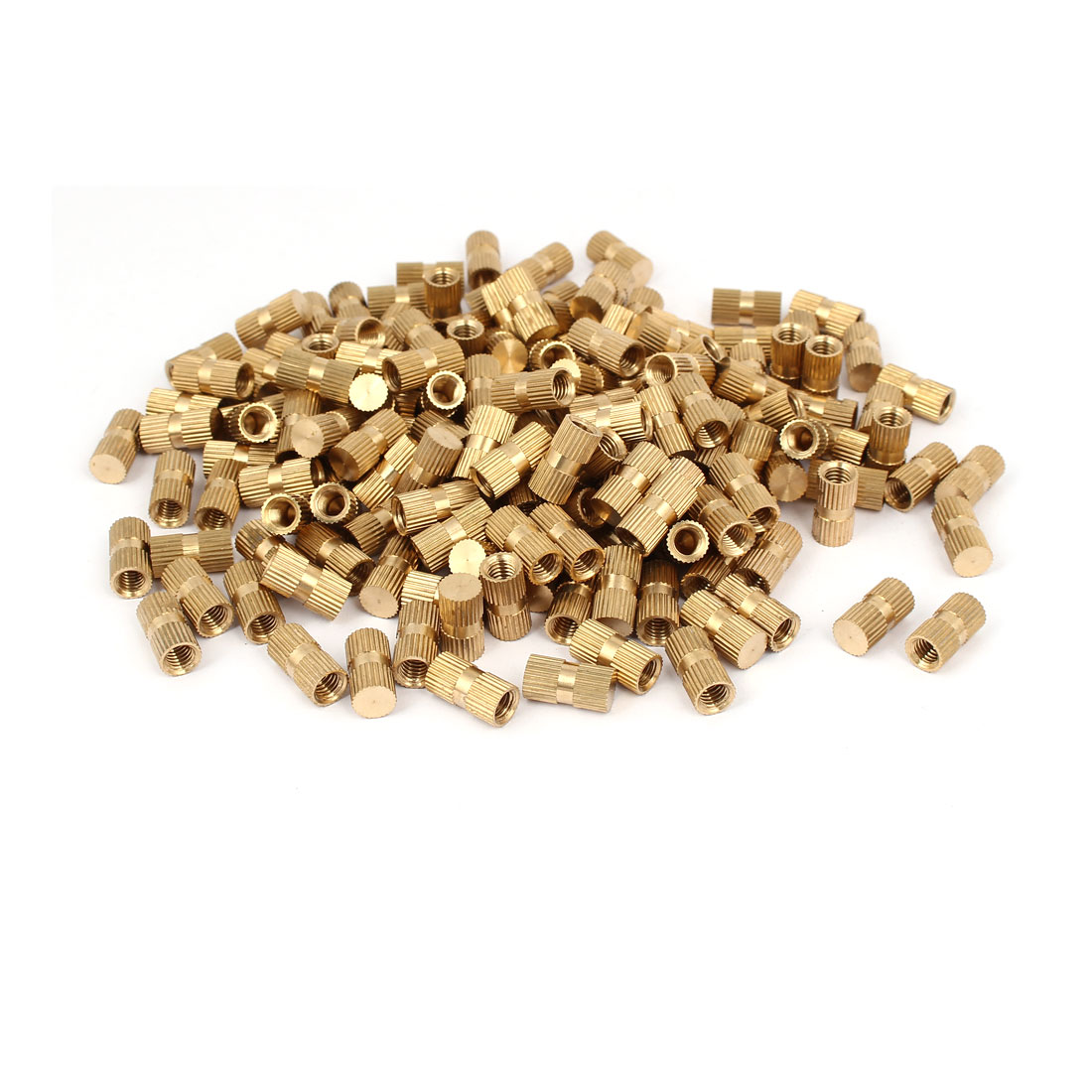 M6 x 16mm 8.3mm OD Brass Injection Molding Threaded Knurled Thumb Nut 200PCS