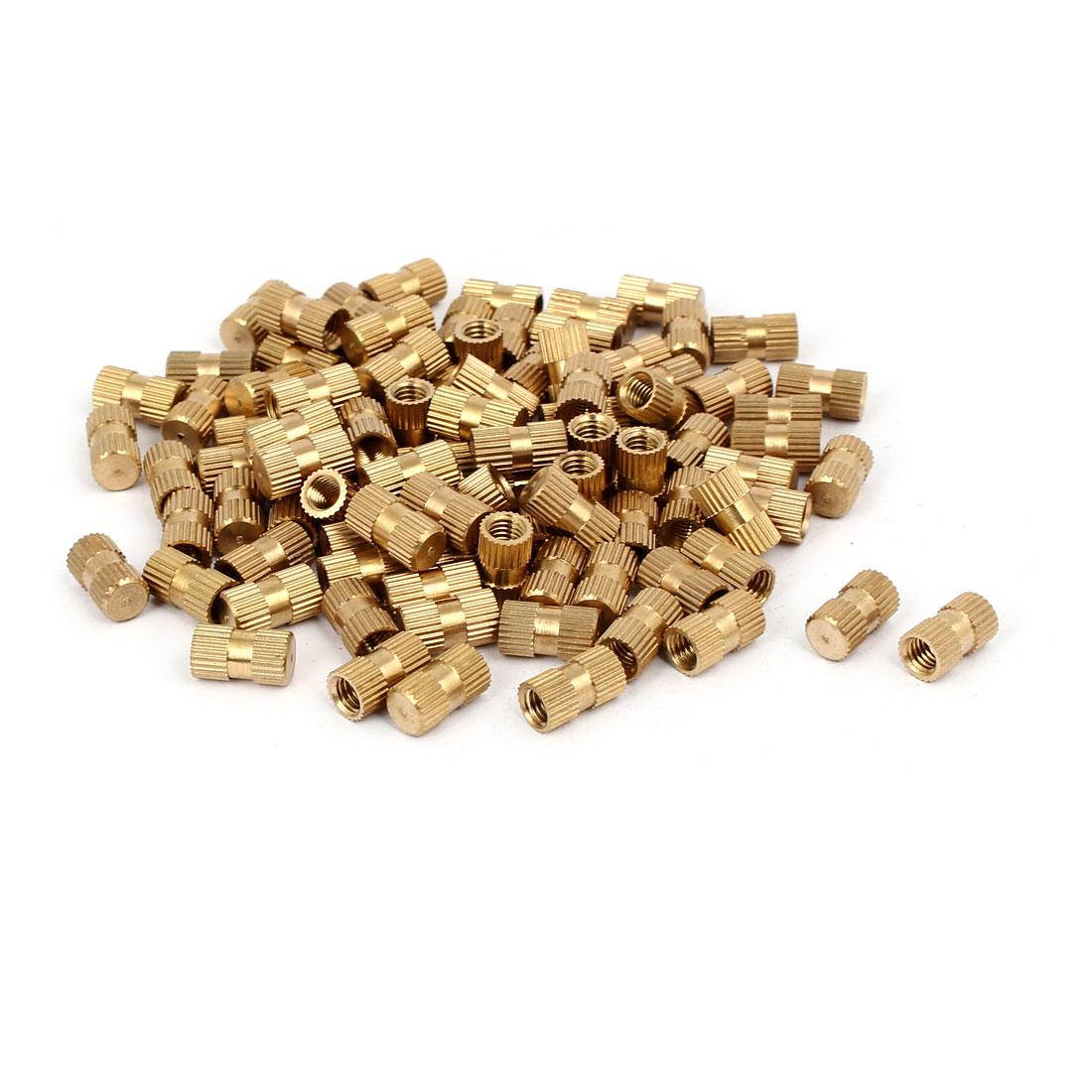 M5 x 12mm 6.8mm OD Brass Threaded Insert Embedment Knurled Thumb Nut 100PCS