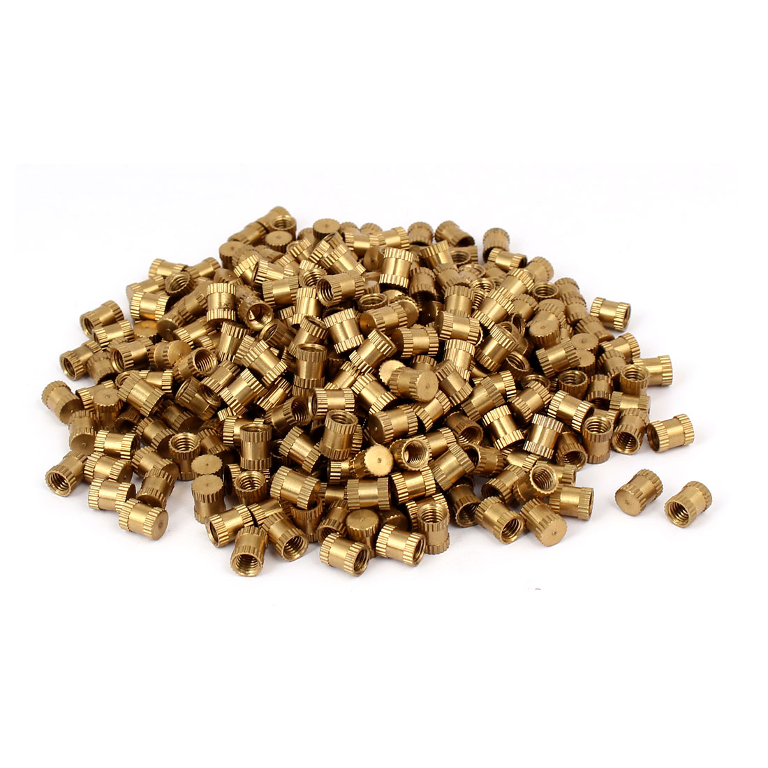 M5 x 8mm 6.5mm OD Brass Threaded Insert Embedded Knurled Thumb Nut 500PCS