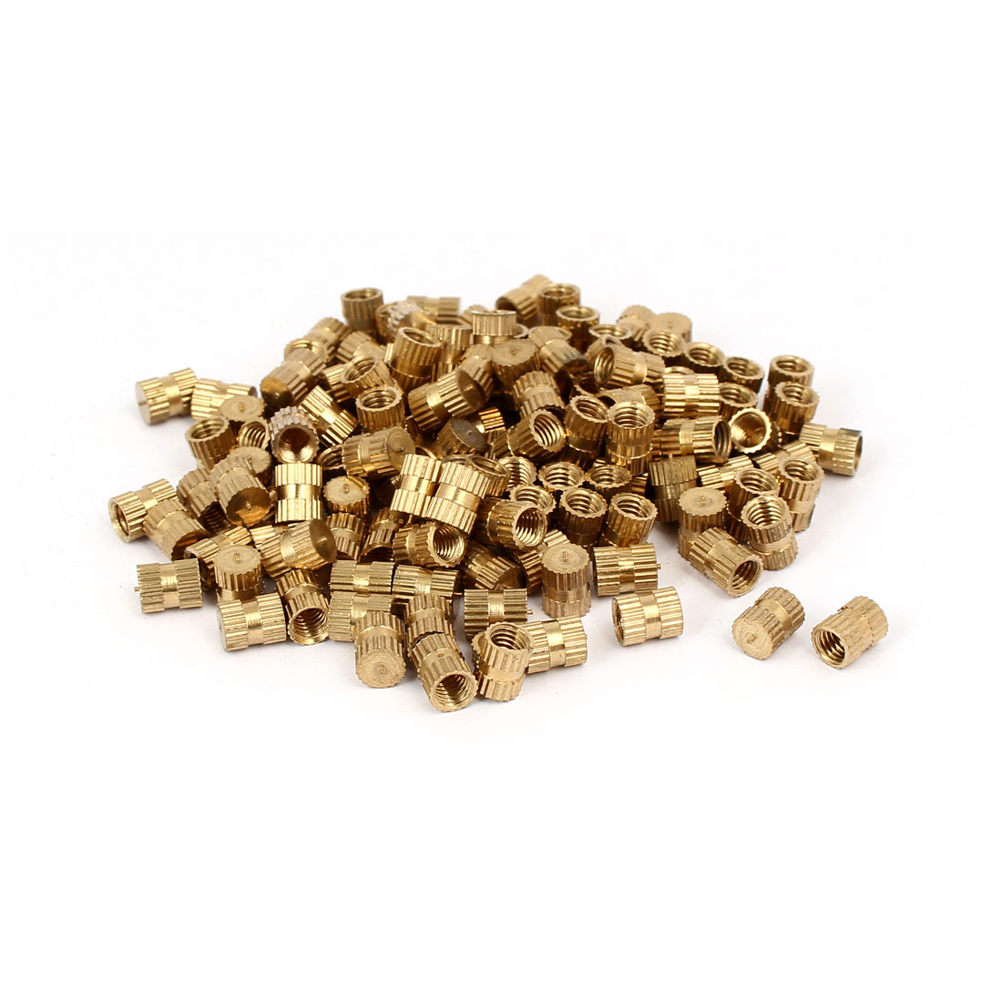 M5 x 8mm 6.3mm OD Brass Injection Molding Embedded Knurled Thumb Nut 100PCS