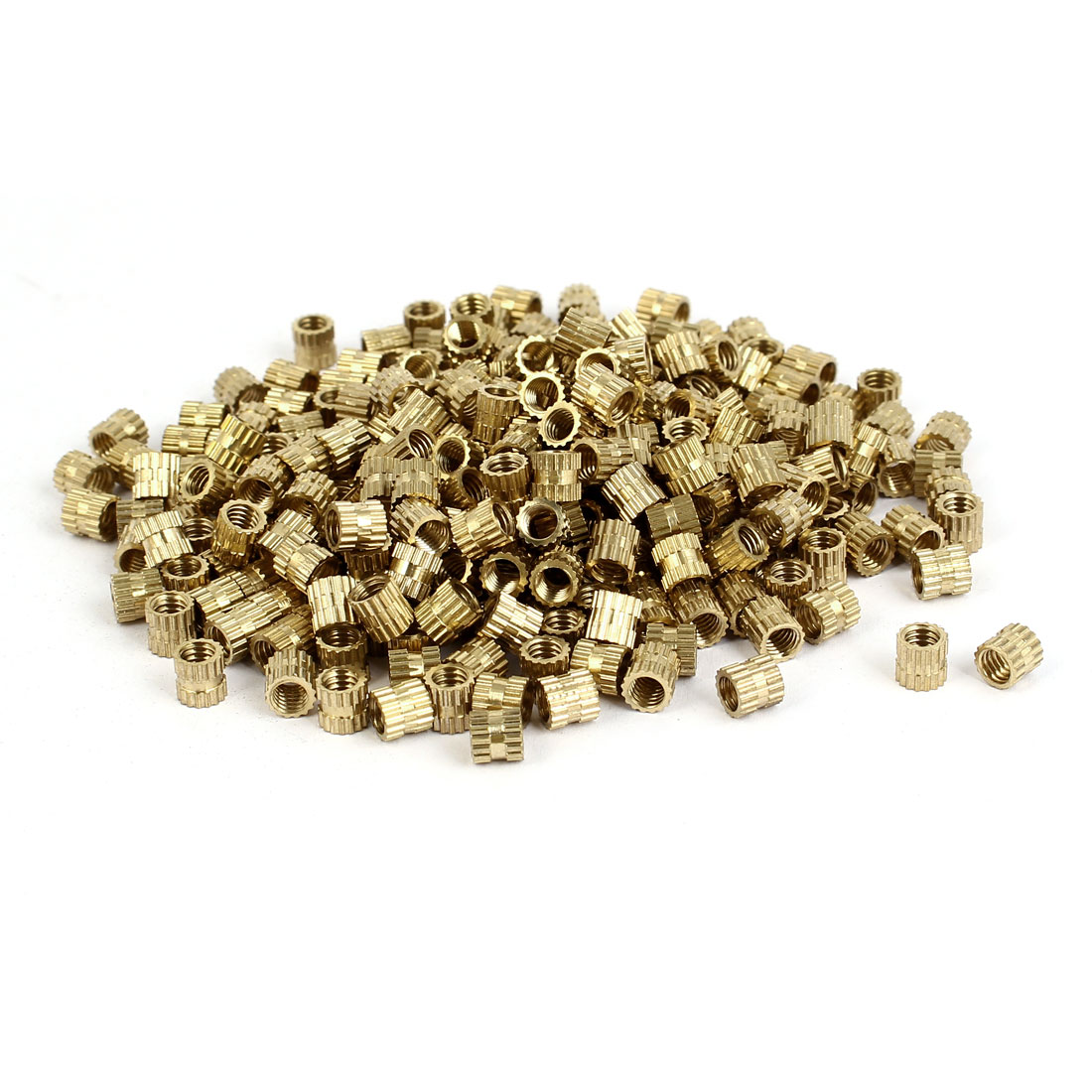 M4 x 5mm Brass Cylinder Knurled Threaded Round Insert Embedded Nuts 300PCS