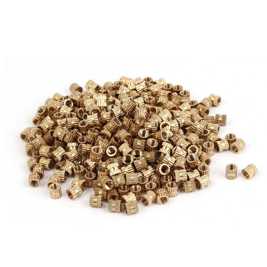 M4 x 5mm 0.7mm Pitch Brass Knurled Threaded Insert Embedded Nuts 500PCS