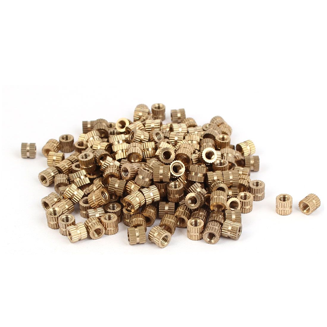 M4 x 6mm Brass Cylinder Injection Molding Knurled Insert Embedded Nuts 200PCS