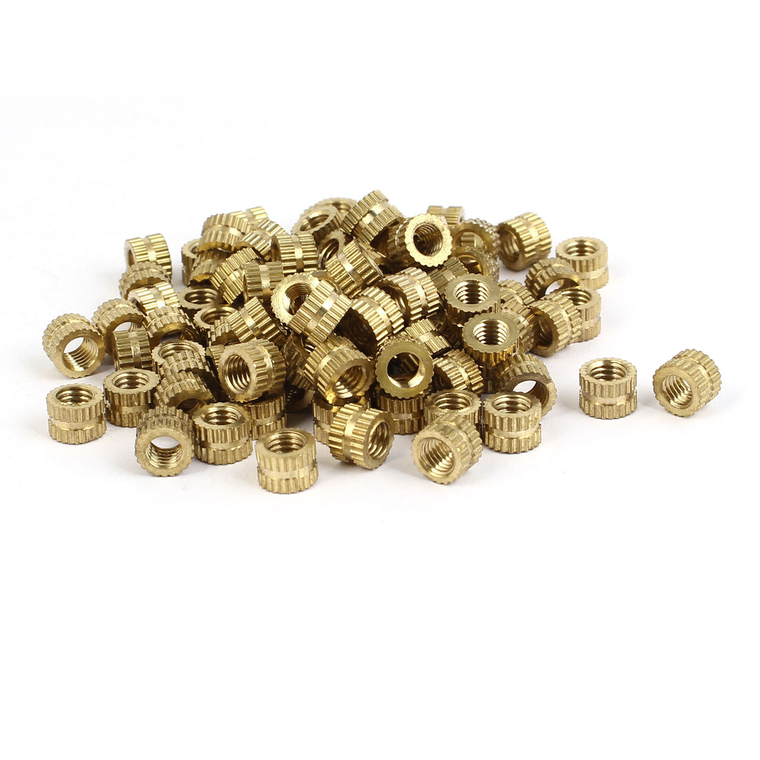 M5 x 5mm Female Thread Brass Knurled Threaded Round Insert Embedded Nuts 100PCS