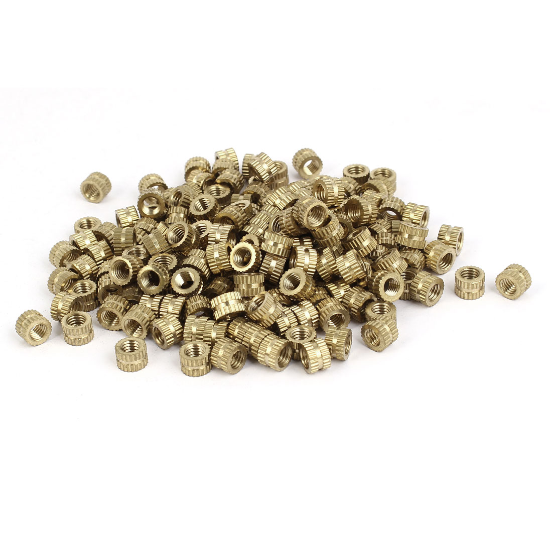 M5 x 5mm x 7.3mm Brass Cylinder Knurled Threaded Insert Embedded Nuts 200PCS