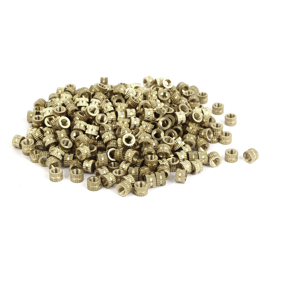M5 x 5mm Brass Cylindrical Knurled Threaded Round Insert Embedded Nuts 500PCS